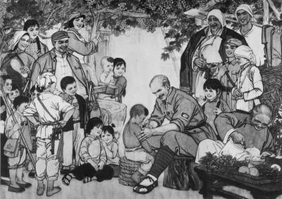 Illustration en noir et blanc montrant Bethune en Chine soignant un enfant et toute une foule autour qui regarde