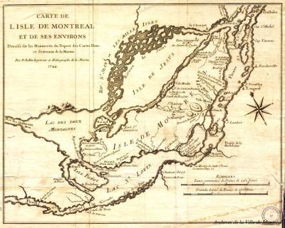 Carte ancienne sur laquelle on peut apercevoir le tracé de différents cours d'eau.