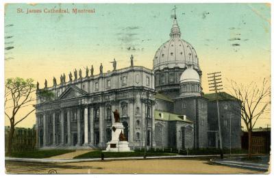 Carte postale montrant la cathédrale Saint-Jacques-le-Majeur, devenu Marie-Reine-du-Monde en 1955.