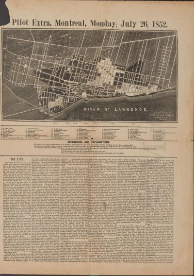 Page du journal Pilot Extra sur le grand incendie de 1852.