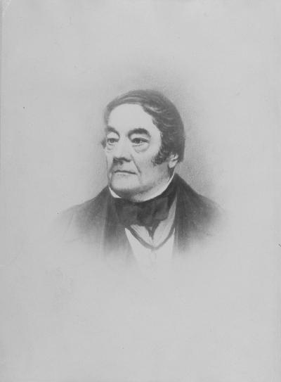 Copie d'une peinture en noir et blanc d'un homme en plan buste.