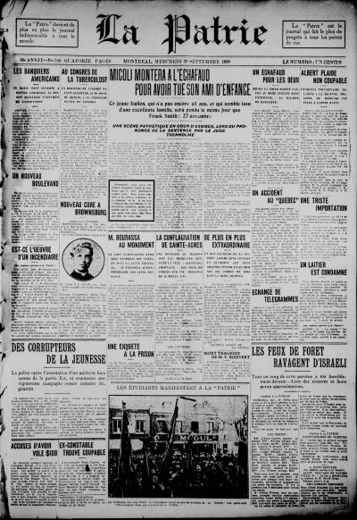 Une du journal La Patrie du 30 septembre 1908