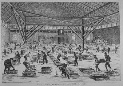 Ouvriers de la fonderie Clendinning au travail en 1872.