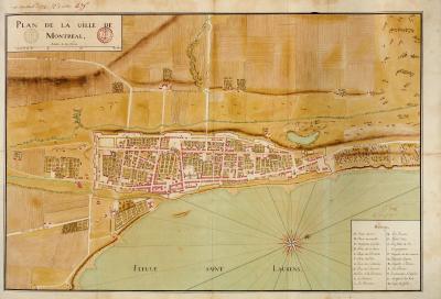Plan de la ville de Montréal par Gaspard-Joseph Chaussegros de Léry montrant l'avancement des travaux de fortifications de la ville en date du 10 septembre 1725.