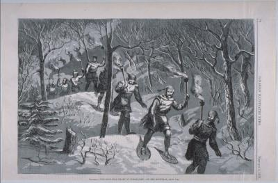 Le Montreal Snowshoe Club dans le parc du Mont-Royal la nuit en 1873.