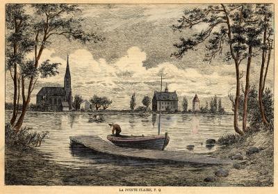 La gravure montre, en avant-plan, un quai et une embarcation où s'affaire un personnage. En arrière-plan, le moulin de Pointe-Claire, la troisième église Saint-Joachim et le couvent des sœurs de la congrégation de Notre-Dame sont visibles.