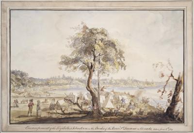Peinture d'un campement à la fin du XVIIIe siècle sur le bord d'un cours d'eau avec un arbre au centre.