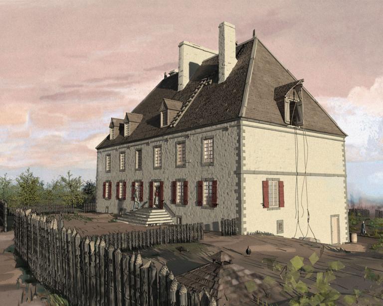 Reconstitution numérique du château Ramezay en 1706