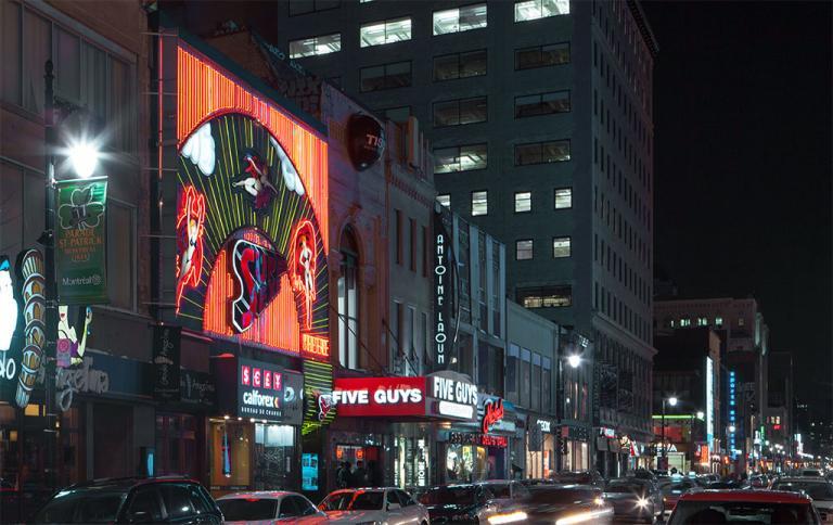 Vue de nuit de la rue Sainte-Catherine