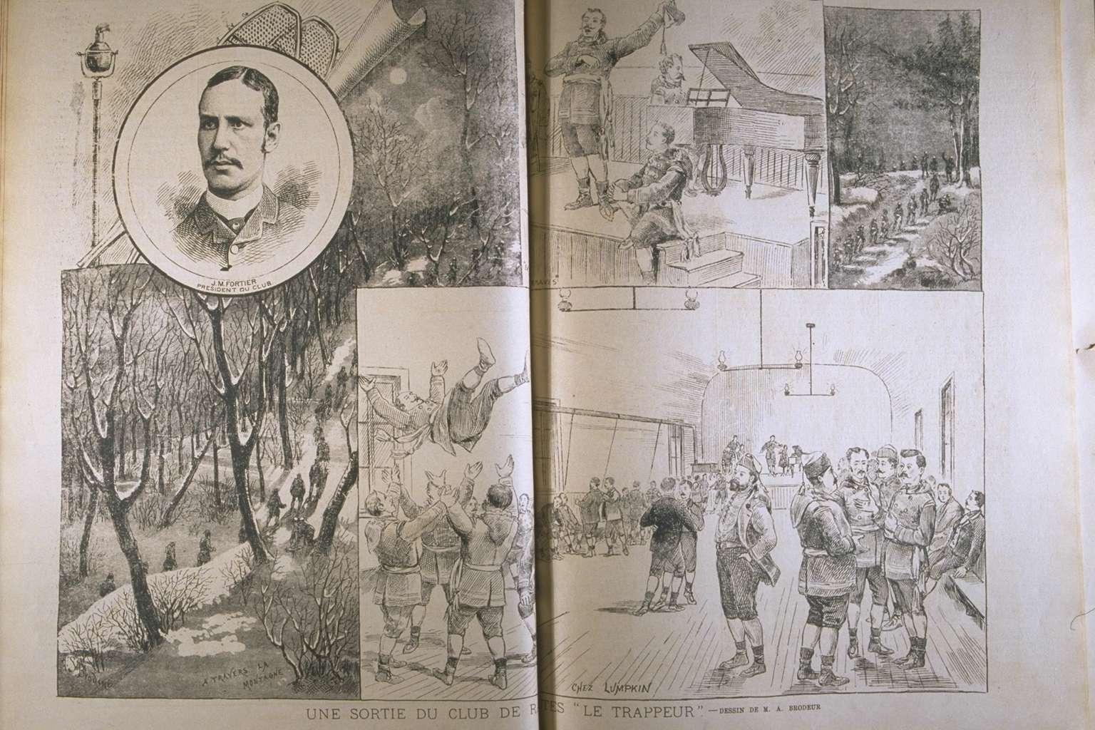 Une sortie du Club de raquettes Le Trappeur en 1886.