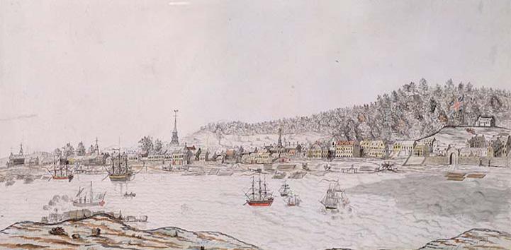 Illustration du port de l'île de Montréal. On aperçoit un drapeau anglais (à droite) et plusieurs clochers d'église.