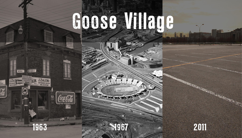 Montage photographique montrant le quartier avant les démolitions, puis une fois l'Autostade construit et, finalement, le stationnement du Casino en 2011.