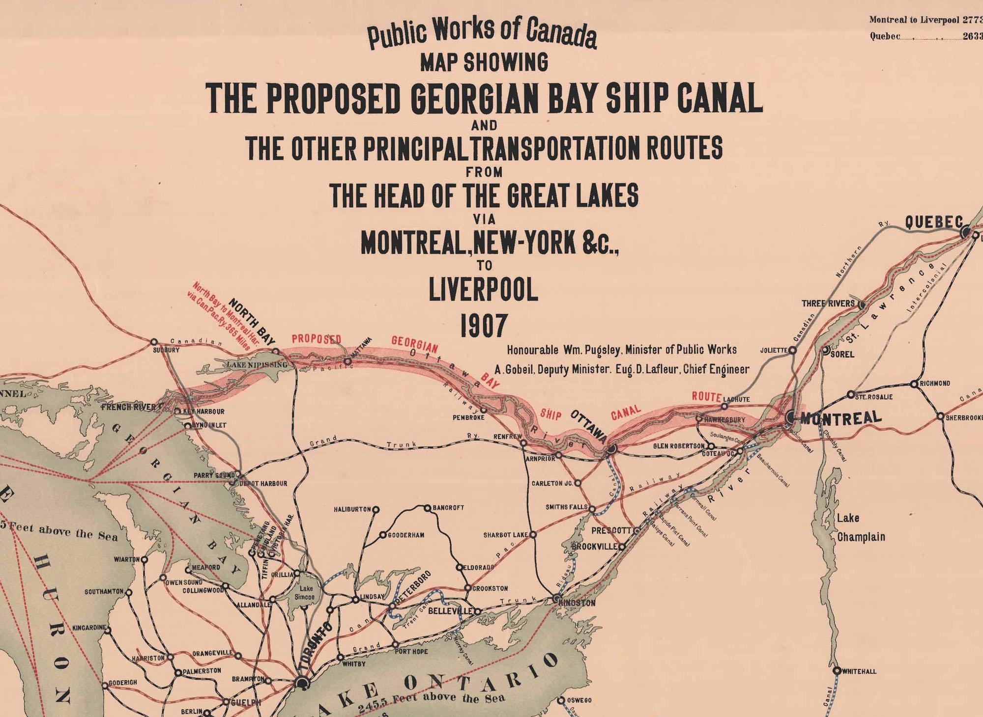 Cette carte présente le projet (non réalisé) de canal navigable entre la baie Georgienne, au nord-est du lac Huron, et la ville de Montréal.