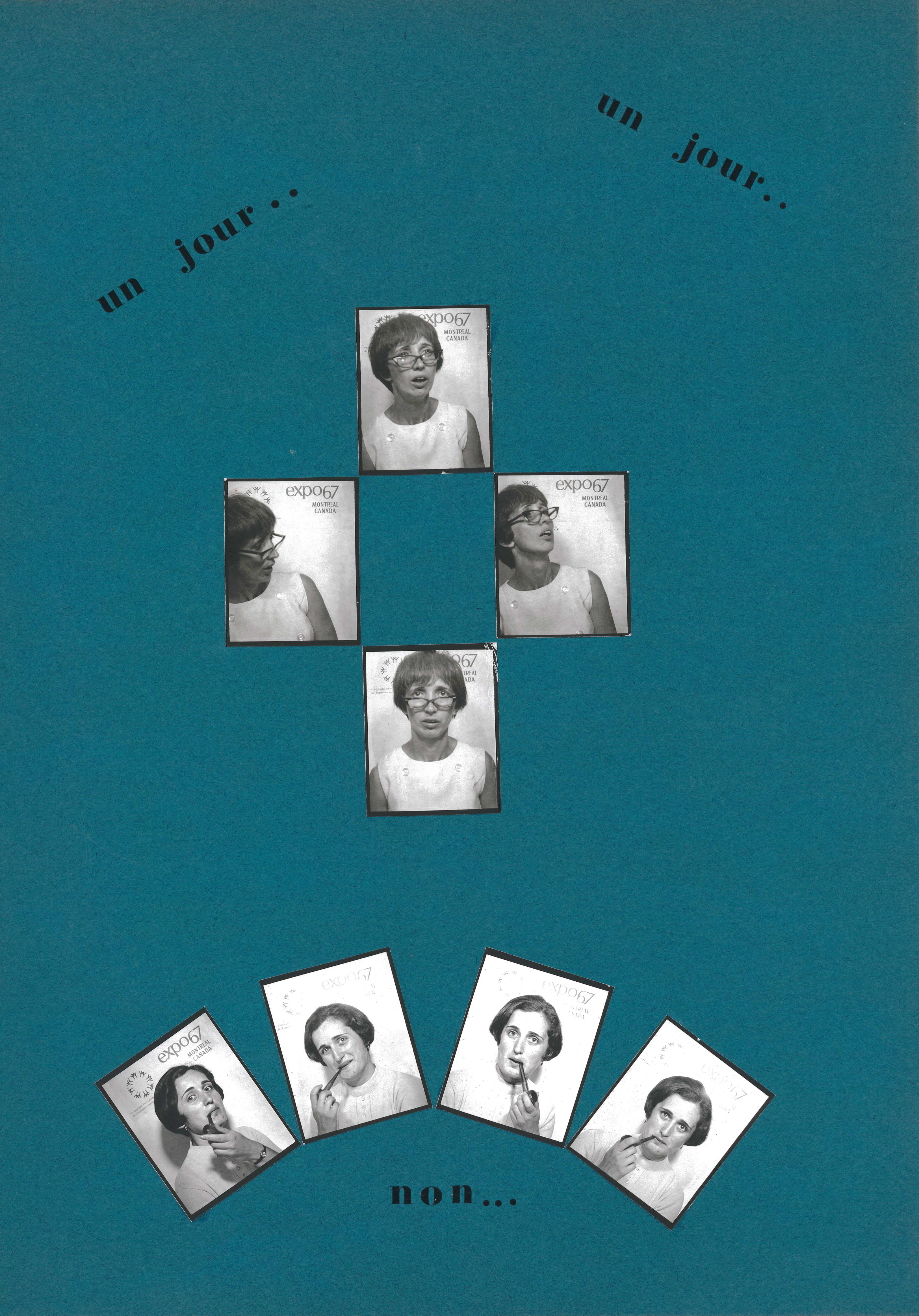 Page d'un album personnalisé de Yolande Méthot avec huit petites photos de photomaton