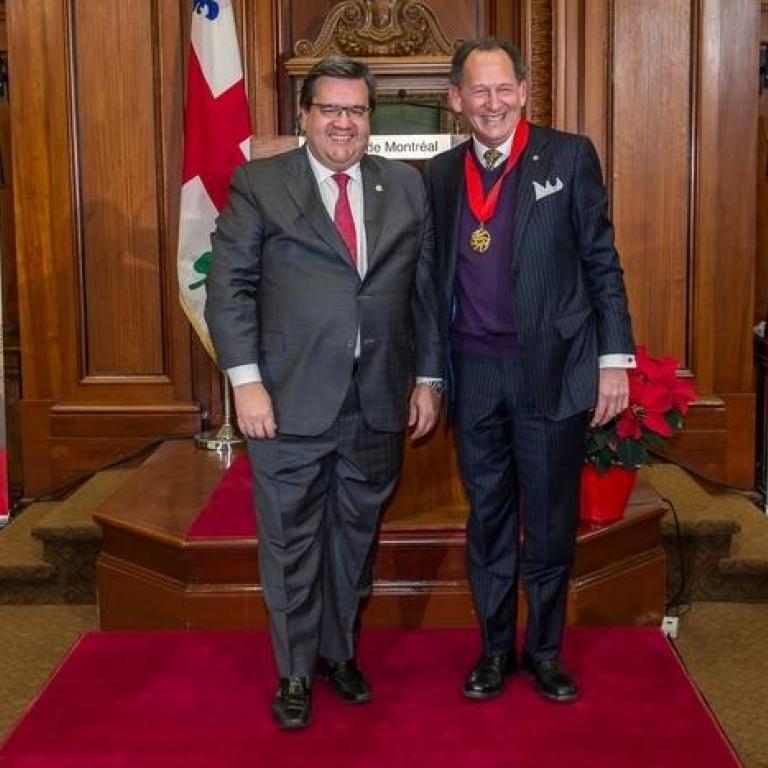 The mayor Mr Denis Coderre and Mr Denis Britt  Montrealer 2004 recepient of the title of Commander