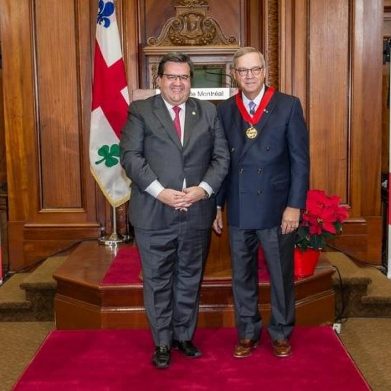 The mayor of Montreal Mr Denis Coderre and Mr L.Jacques Ménard  Great Montrealer 2009 recepient of the title of Commander