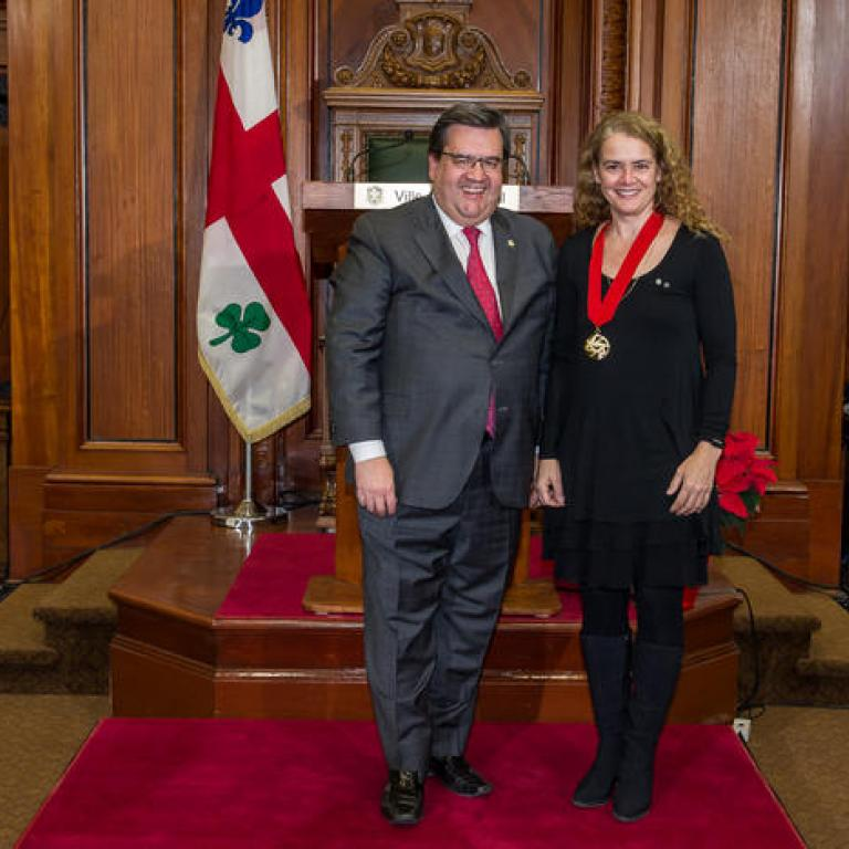 The mayor Mr Denis Coderre and Mrs Julie Payette Great Montrealer 2013 recepient of the title of Commander