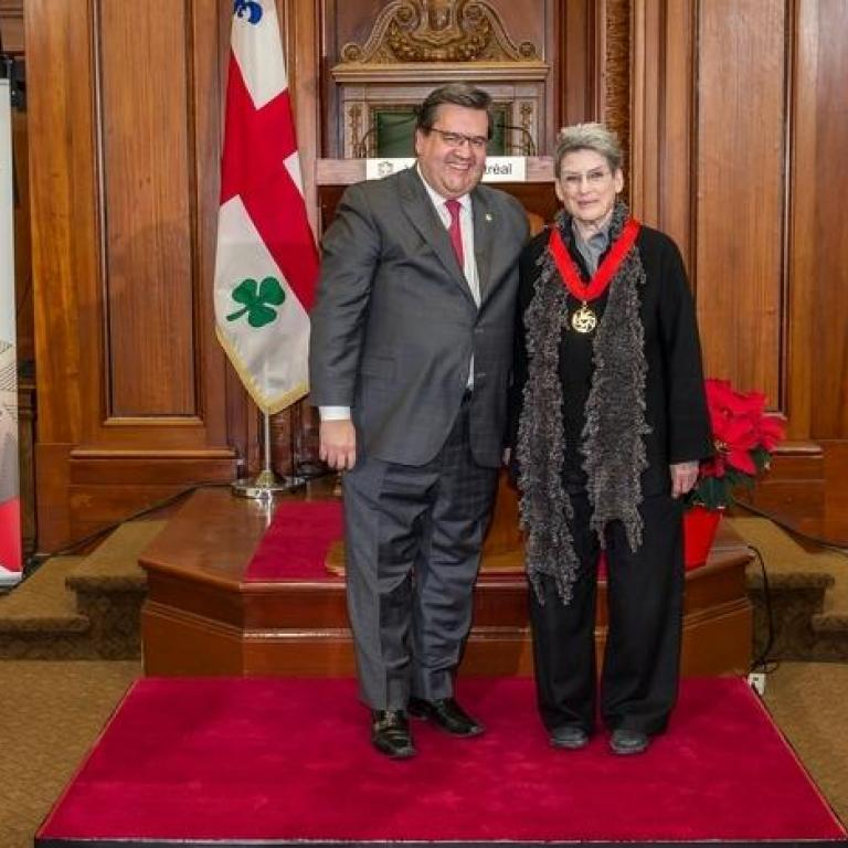 The mayor of Montreal Mr Denis Coderre and Mrs Phyllis Lambert Great Montrealer 1984 recepient of the title of Commander