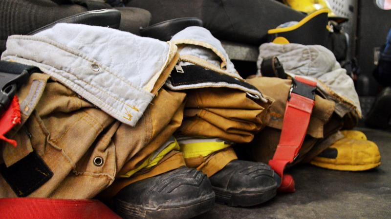 Firefighter's boots and uniform