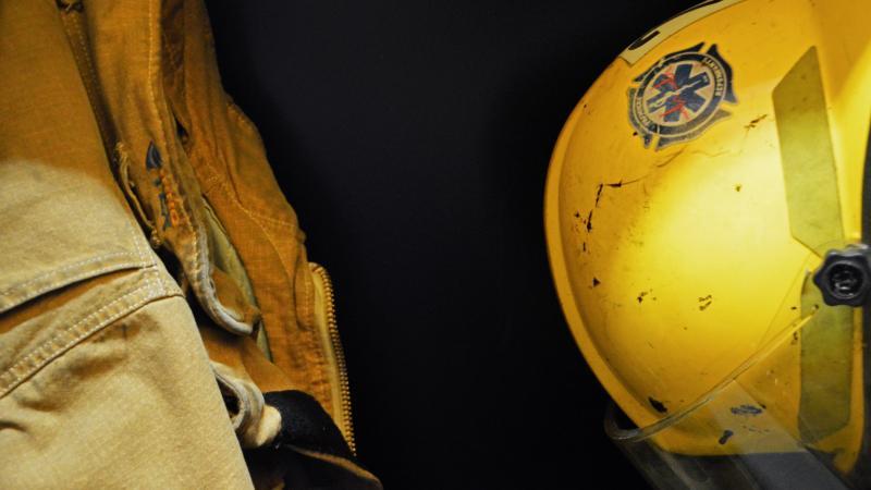 Firefighter's helmet and uniform