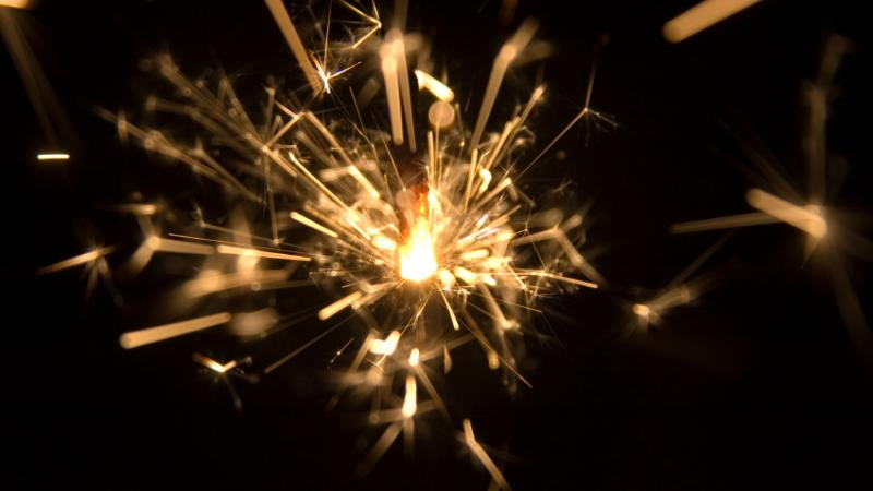 A table centrepiece made of fireworks