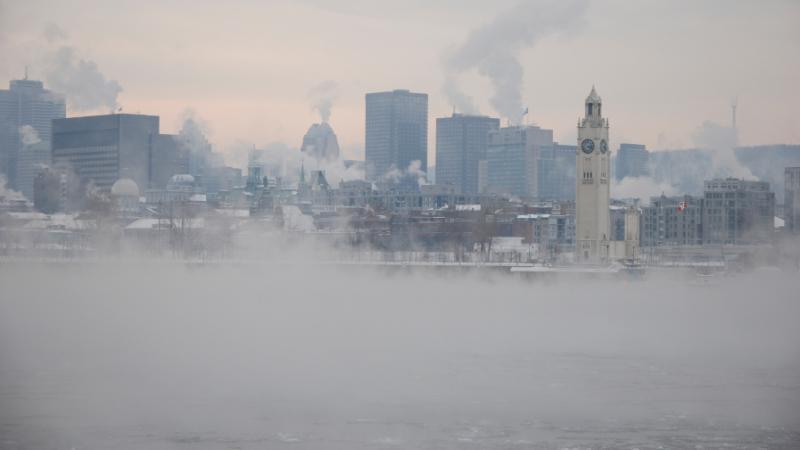 La ville de Montréal lors d'une journée de froid intense.