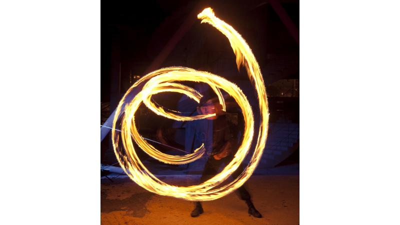 Fire artist in motion