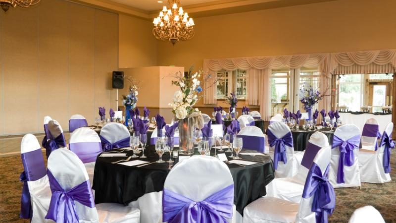 Reception area decorated for a wedding
