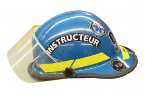 Blue helmet worn by driver instructors