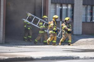 Four firefighters on site at a fire