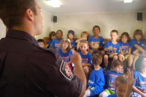 A fire safety educator shares tips with children.