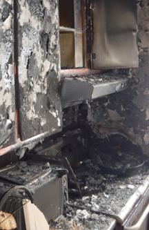 Cuisine montréalaise après un incendie.