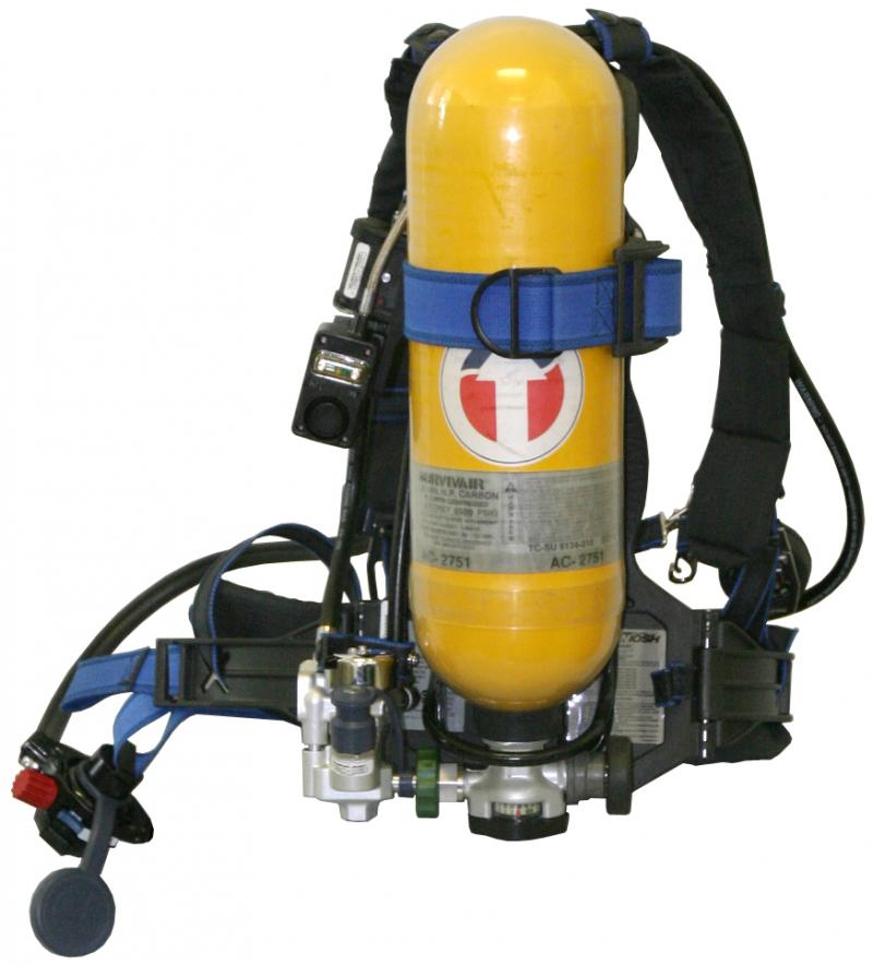 Bottle of pressurized air with straps and sling