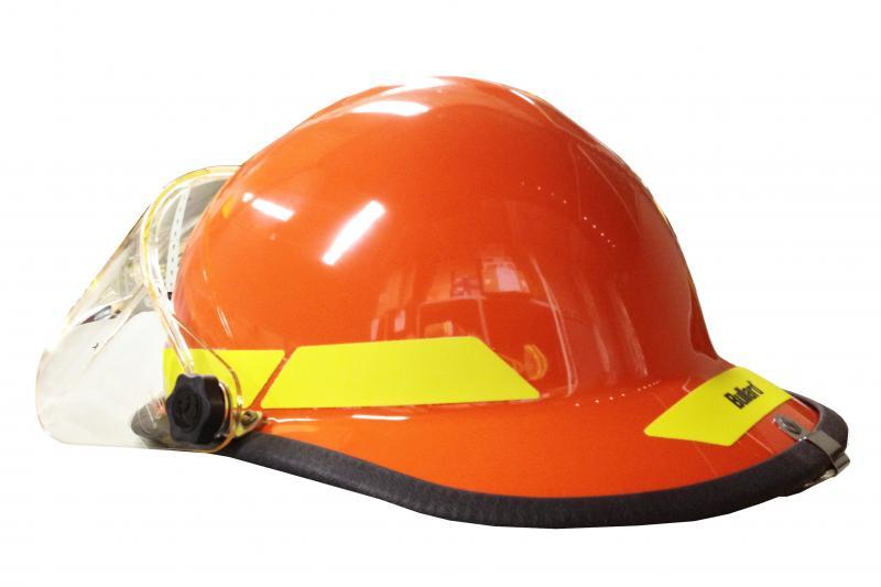 Orange helmet worn by firefighter-investigators