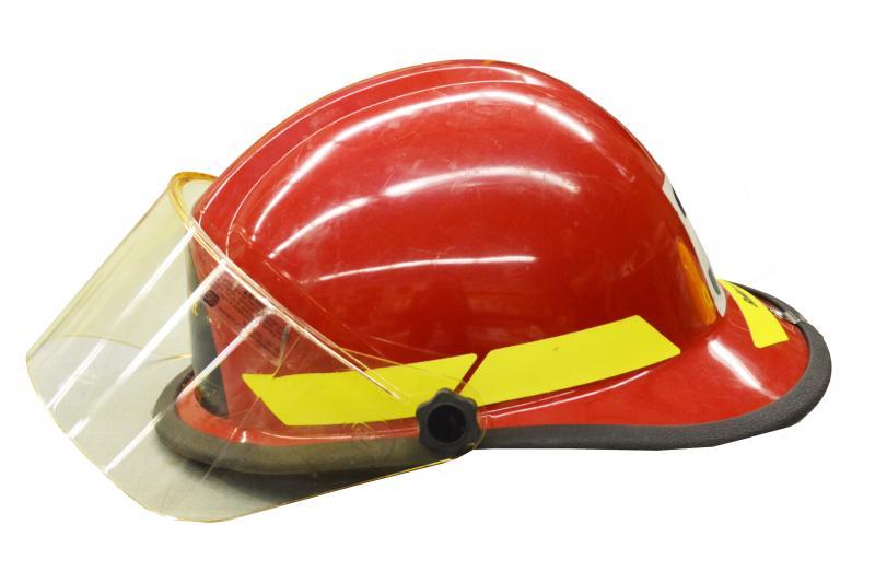 Red officer's helmet