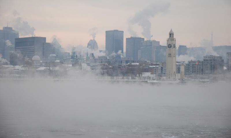 Montréal on a day of intense cold