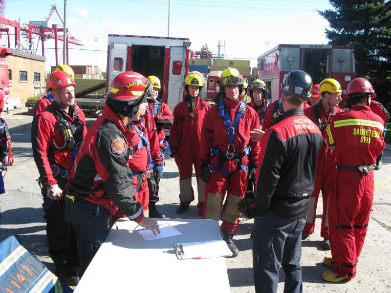 Technical rescue team during a trench rescue simulation