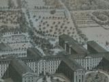 Vue d'ensemble du Grand Séminaire de Montréal et du Collège de Montréal. À l'avant-plan, des calèches passent sur la rue Sherbrooke. Deux tours en pierre témoignent de la mission sulpicienne du 17e siècle. À l'arrière, on voit les jardins et la montagne.