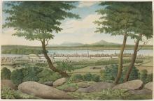 """""""Montréal"""". Montréal est ceinturé de ses murs de fortification; à l'extérieur, les faubourgs commencent à se développer. Aquarelle sur mine de plomb sur papier vélin."""