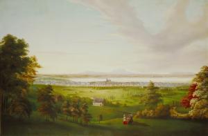 """""""Montréal vu de la montagne"""". Les flancs verdoyants de la montagne attirent les familles bourgeoises à la recherche d'espaces champêtres près de la ville pour y passer l'été. Huile sur toile."""