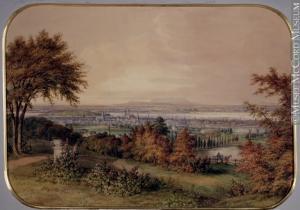"""""""Montréal depuis la montagne"""". Les flancs de la montagne offrent une vue imprenable, de l'air pur et de la tranquillité à ceux qui s'y installent. Aquarelle, mine de plomb et gouache sur papier."""