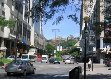 L'avenue McGill College, avec sa vue sur la montagne. Photographie.