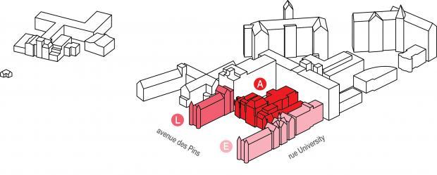 Axonométrie de localisation de l'Hôpital Royal Victoria.
