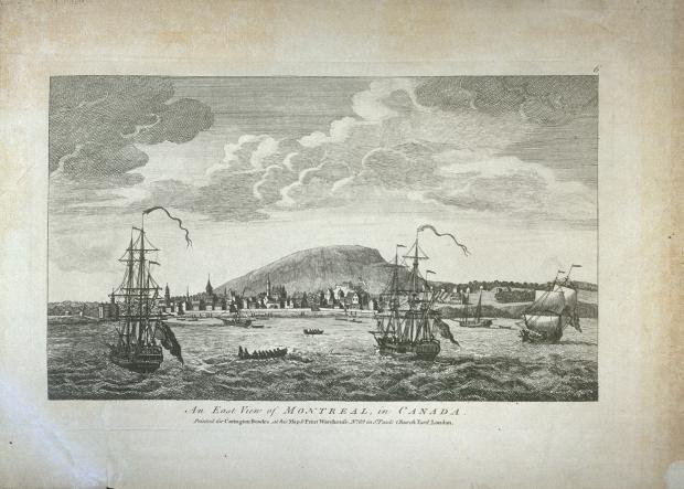 Gravure montrant l'Est de Montréal, vue à partir du fleuve.
