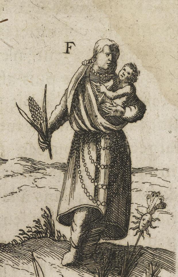 Une Iroquoienne avec son enfant, tenant un épi de maïs.