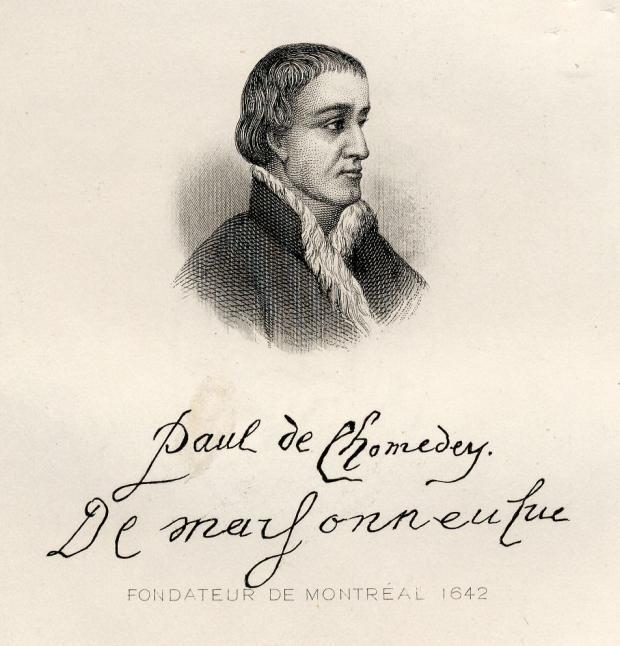 Portrait en buste de Paul Chomedey de Maisonneuve surmontant sa signature