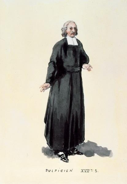 Portrait plein pied d'un sulpicien du 17e siècle dans les habits de cette compagnie.