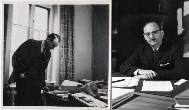 À gauche, Hazen Sise debout, penché vers sa table de travail couverte de documents et à droite, portrait de Guy Desbarats, appuyé sur un bureau de travail.