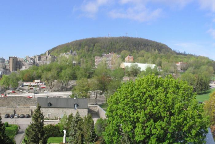 Vue sur le mont Royal depuis l'Hôtel-Dieu en 2007.