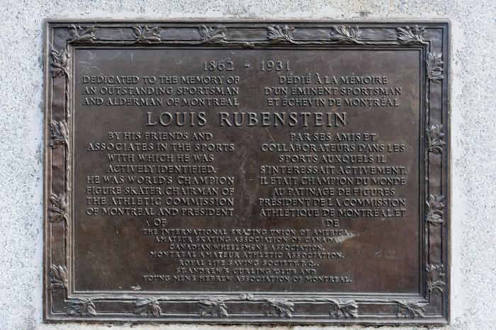 """""""Louis Rubenstein, 1862-1931"""", avant 1940, détail de la plaque."""